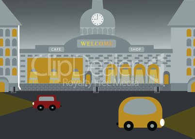 City landscape in flat vector style. Evening time. EPS 10
