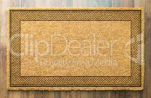 Blank Welcome Mat On Wood Floor Background Ready For Your Text