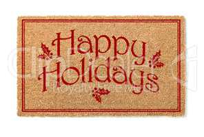 Happy Holidays Christmas Tan Welcome Mat Isolated on White Backg