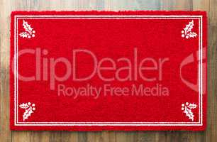 Blank Holiday Red Welcome Mat With Holly Corners On Wood Floor B