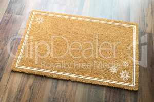 Blank Holiday Welcome Mat With Snow Flakes On Wood Floor Backgro