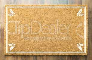 Blank Holiday Welcome Mat With Holly On Wood Floor Background