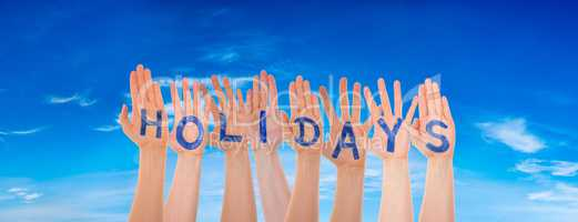 Many Hands Building Word Holidays, Blue Cloudy Sky