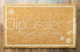 Blank Holiday Welcome Mat With Snow Flakes On Wood Floor