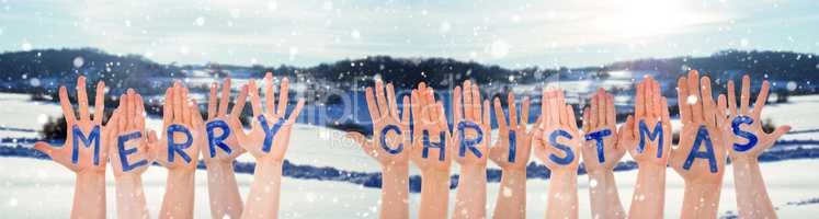 Many Hands Building Word Merry Christmas, Winter Scenery As Background