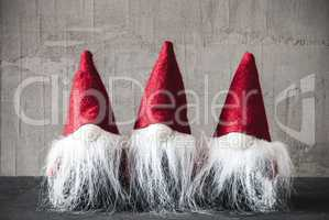 Three Gnomes With Red Hat, Cement, Jelly Bag Cap