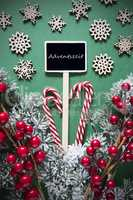 Retro Black Christmas Sign,Lights, Adventszeit Means Advent Season