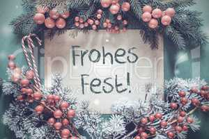 Christmas Garland, Frohes Fest Means Merry Christmas