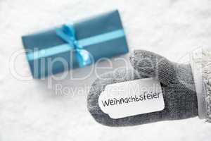 Turquoise Gift, Glove, Weihnachtsfeier Means Christmas Party