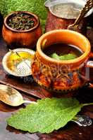 Cups of healthy herbal tea