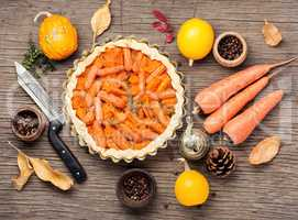 Pie with carrots and pumpkin