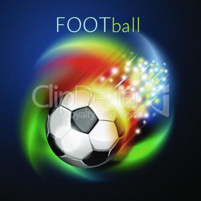 Football ball flying over rainbow
