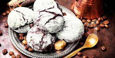 Closeup chocolate cookies