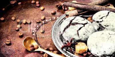 Chocolate cookies on dark retro table