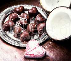 chocolate candy with coconut