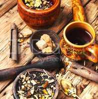 leaves of herbal tea