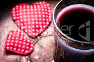 Wine and symbolic heart