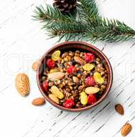holiday porridge with nuts and raisins
