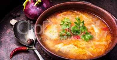 Ukrainian national food-borsch