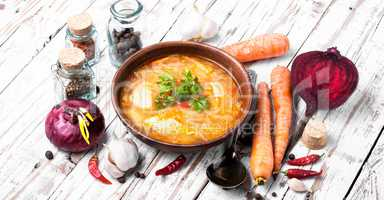 Ukrainian national food-borsch