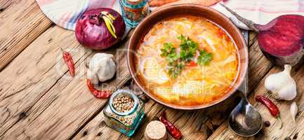 Ukrainian national food-borshch