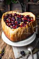 rustic summer pie with berries