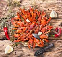 crayfish in a metal dish