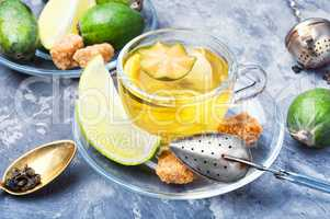 Tea with lime and feijoa