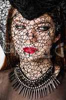 Portrait of female in hat on Halloween