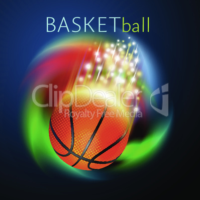 basketball sport ball flying over rainbow