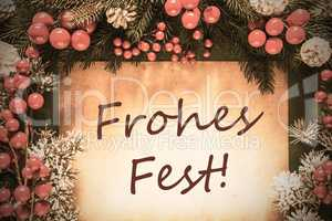 Retro Christmas Decoration, Fir Tree Branch, Frohes Fest Means Merry Christmas