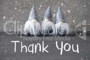 Three Gray Gnomes, Cement, Snowflakes, Thank You