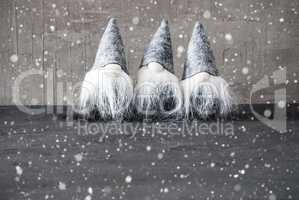 Gray Gnomes, Cement, Snowflakes, Copy Space For Advertisement