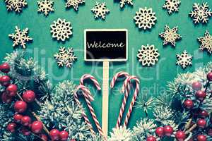 Black Christmas Sign,Lights, Text Welcome, Retro Look