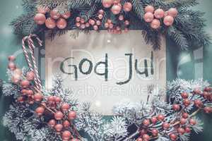 Christmas Garland, Fir Tree Branch, God Jul Means Merry Christmas