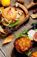 Diet hamburger with vegetables