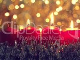 Third Advent candleburning Christmas concept