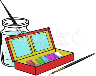 Paint box and brushes