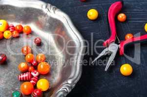 Bright plastic beads