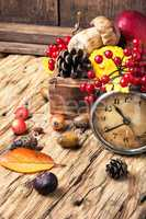 alarm clock and autumn symbols