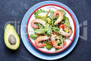 Salad with shrimp,tomatoes and arugula