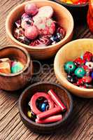 Fashion beads in wooden bowls
