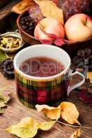 Autumn still life with tea cups