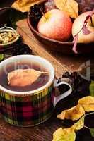 Autumn still life with tea cups