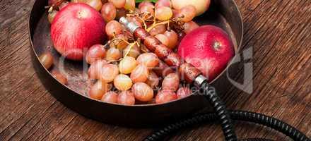 smoke hookah with grapes