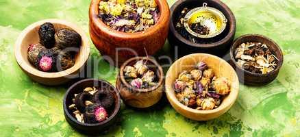 Set herbal floral tea