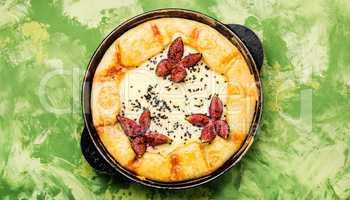 Italian focaccia with figs