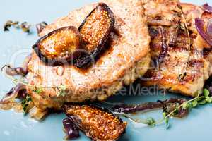 Meat steak with fig and thyme