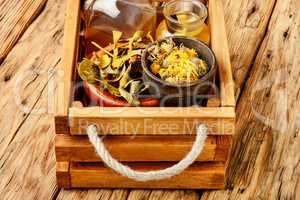 Healing herbs and roots in box