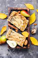 Homemade autumn pear cake